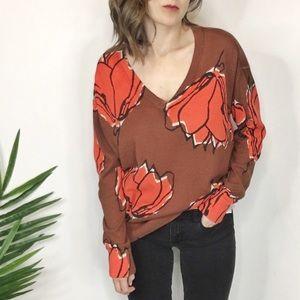 GAP floral sweater v-neck brown & orange